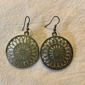 Vintage Olive Shimmer Circular Dangle Earrings
